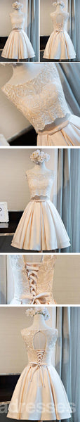 Lace Scoop Neckline Homecoming Prom Dresses, Affordable Short Party Prom Dresses, Perfect Homecoming Dresses, CM275