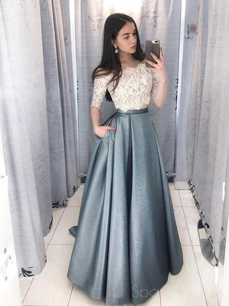 ecf18a2cf4 Two Pieces Half Sleeve Lace Grey Long Evening Prom Dresses