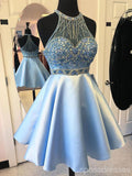Elegant Blue Halter Beaded Cheap Short Homecoming Dresses Online, CM597