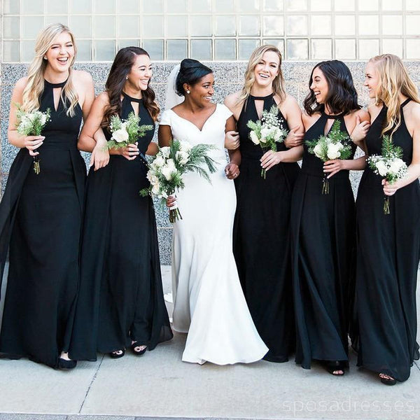 Halter Custom Chiffon Long Black Bridesmaid Dresses, WG225