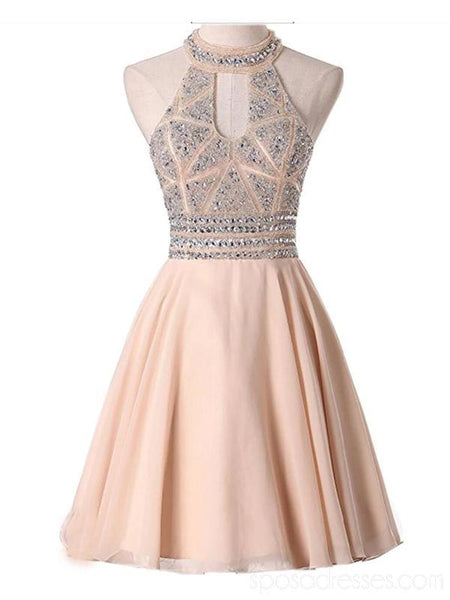 Halter Sexy Open Back Chiffon Cheap Homecoming Dresses Online, Cheap Short Prom Dresses, CM778