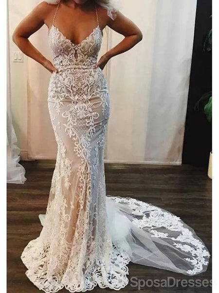 Halter Sexy Lace Mermaid Cheap Wedding Dresses Online, Cheap Unique Bridal Dresses, WD590