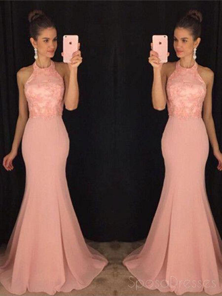 Halter Blush Pink Mermaid Evening Prom Dresses, 2018 Long Party Prom Dresses, 17063