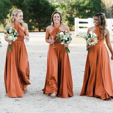 Halter Burnt Orange Custom Cheap Long Bridesmaid Dresses Online