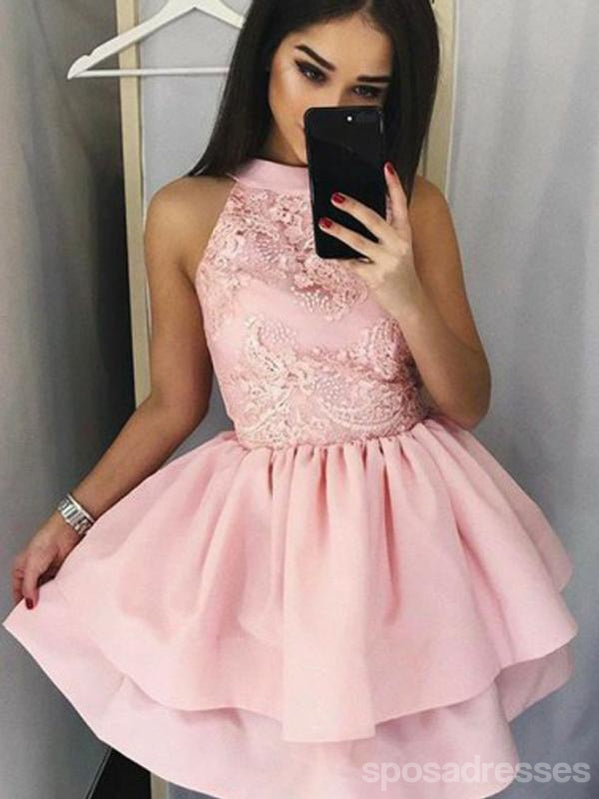 Pale Pink Halter Cheap Short Homecoming Dresses Online, CM650