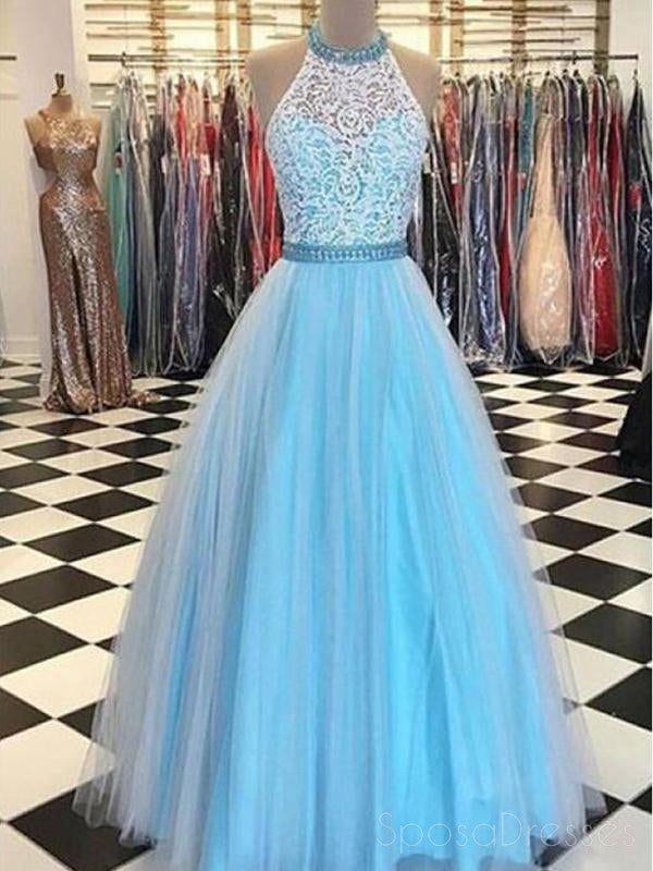 Sexy Backless Long Sleeves Beaded V Neck A-line Long Evening Prom Dresses, 17638