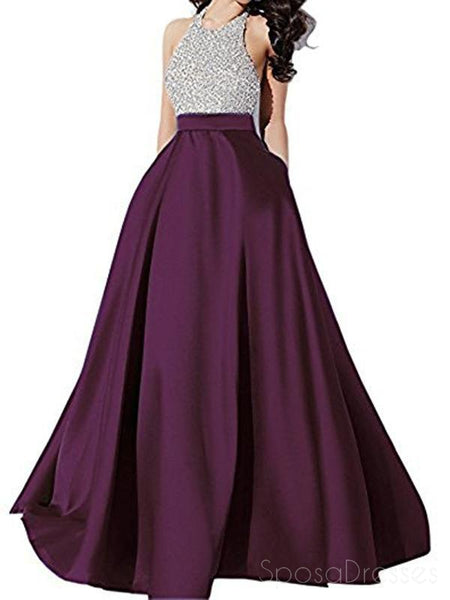 Halter Rhinestone Beaded Purple A-line Long Evening Prom Dresses, 17678