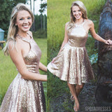 A-line Halter Sleeveless Short Sequin Bridesmaid Dresses Online, WG891