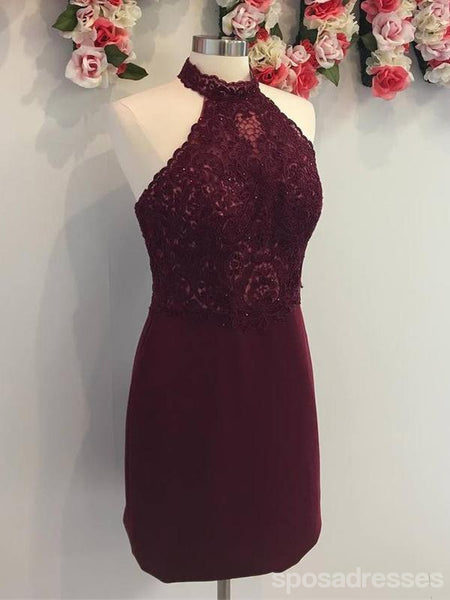 Cheap Halter Maroon Lace Short Homecoming Dresses Online, CM675