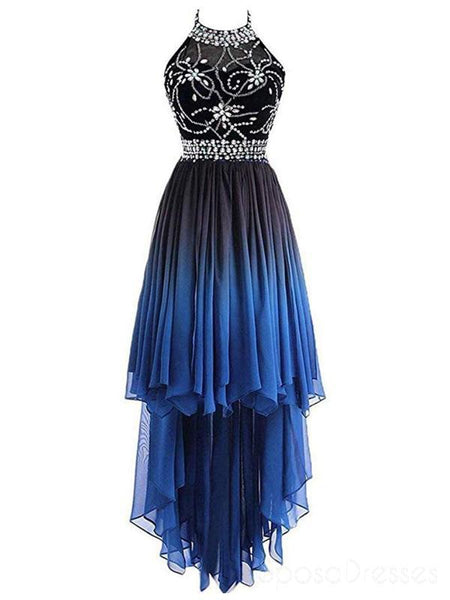 Halter Beaded High Low Chiffon Ombre Cheap Long Evening Prom Dresses, Sweet16 Dresses, 18406