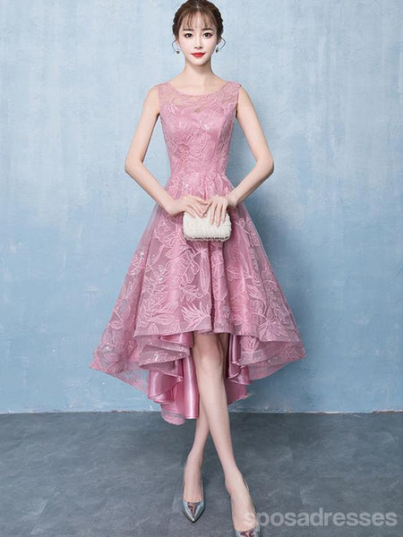 Pink Lace Scoop High Low Cheap Homecoming Dresses Online, CM694
