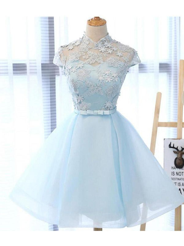 Cute Applique White Short Homecoming Prom Dresses, Cheap Sweet 16 Dresses, CM359