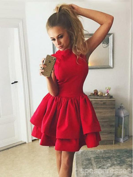 Modest High Neck Red Cheap Short Homecoming Dresses Online, CM652