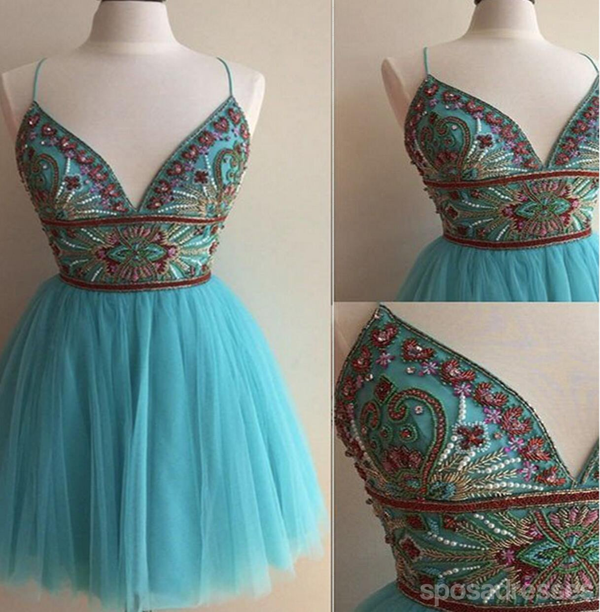 Turquoise Heavily Beaded Tulle Short Homecoming Prom Dresses ...