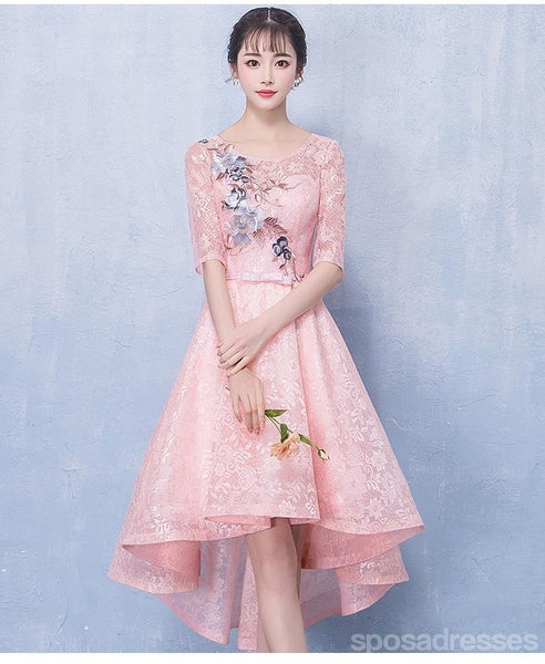 Long Sleeves Pink Lace High Low Cheap Homecoming Dresses Online, CM695