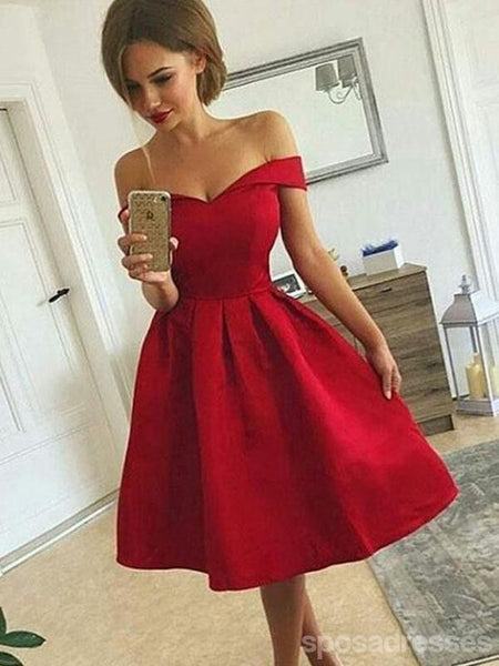 Off Shoulder Red Simple Short Cheap Homecoming Dresses Online, CM703