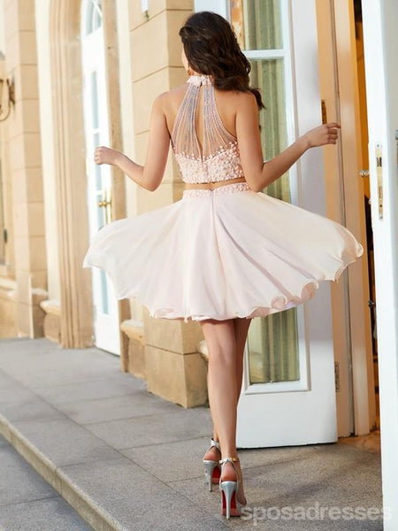 Blush Pink Two Pieces Halter Beaded Cheap Homecoming Dresses Online, CM719