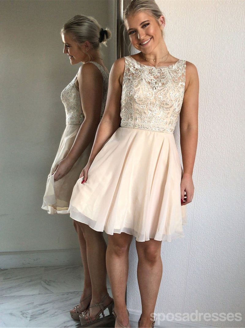 Champagne Scoop Lace Beaded Chiffon Cheap Homecoming Dresses Online, CM721