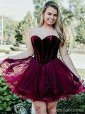 Simple Sweetheart Purple Short Cheap Homecoming Dresses Online, CM705