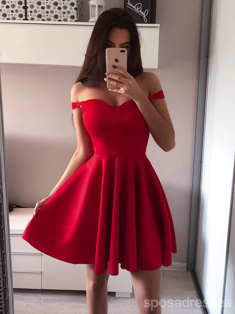 release date best place factory outlet Simple Red Off Shoulder Short Cheap Homecoming Dresses Online ...