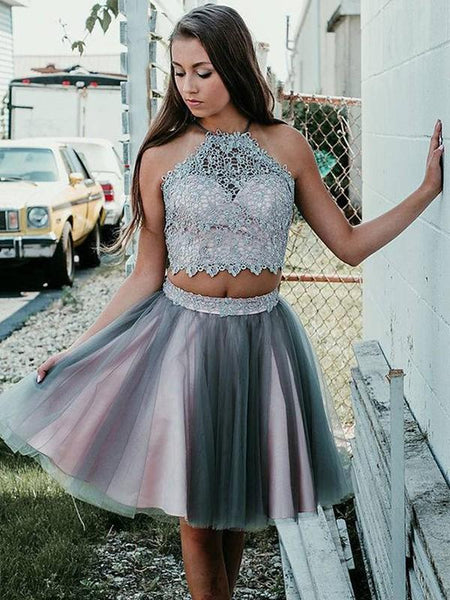 Sexy Two Pieces Halter Grey Tulle Cheap Homecoming Dresses Online, CM706