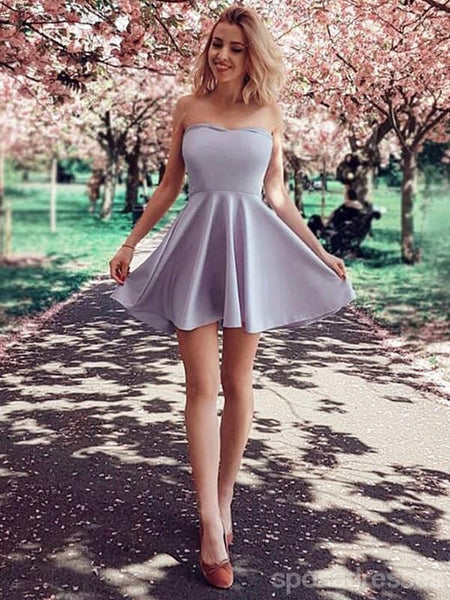 Simple Grey Sweetheart Cheap Cute Homecoming Dresses Online, CM707