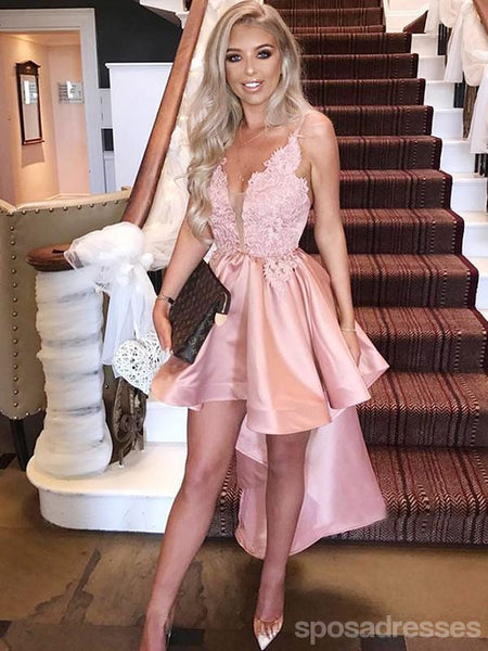 High Low Blush Pink Spaghetti Straps Cheap Short Homecoming Dresses Online, CM712