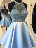 Blue Halter Beaded Short Cheap Homecoming Dresses Online, CM735