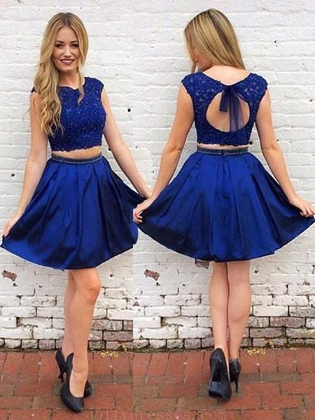 Two Pieces Royal Blue Open Back Short Cheap Homecoming Dresses Online, CM736