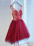 V Neck Burgundy Lace Cheap Short Homecoming Dresses Online, CM688