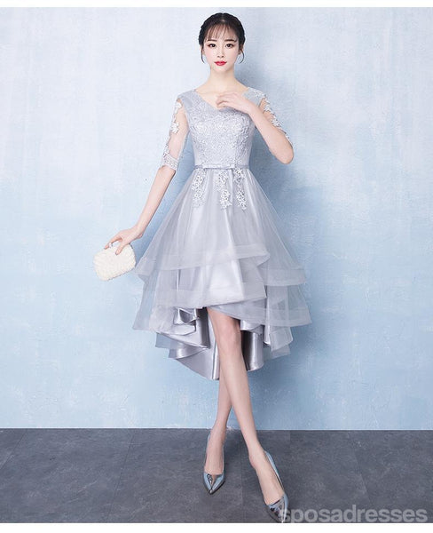 Long Sleeves High Low Grey Lace Cheap Homecoming Dresses Online, CM693