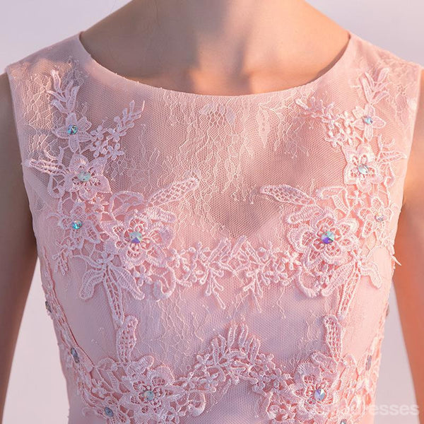 Illusion Blush Pink Lace Beaded Cheap Homecoming Dresses Online, CM696