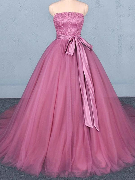 Strapless Hot Pink Ball Gown Cheap Evening Prom Dresses, Evening Party Prom Dresses, 12150