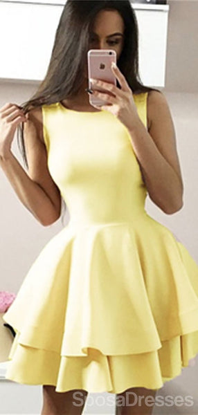 Simple Scoop Yellow Simple Cheap Short Homecoming Dresses Online, Cheap Short Prom Dresses, CM823