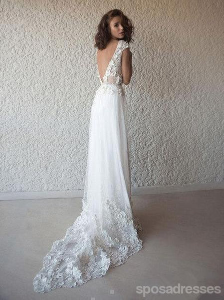 Sexy Backless Cap Sleeves Long Wedding Dresses Online, Cheap Bridal Dresses, WD540