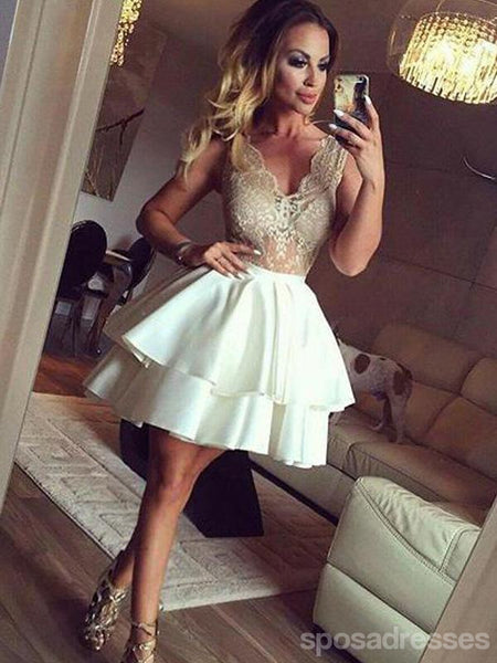 Sexy See Through Lace V Neck Short Cheap Homecoming Vestidos Online, CM571