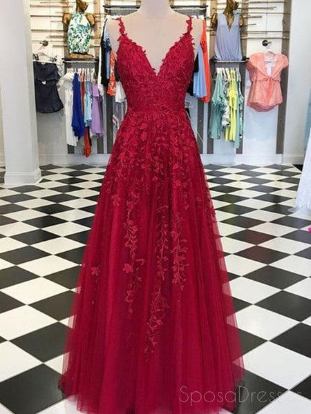 Spaghetti Straps Lace Dark Red Cheap Long Evening Prom Dresses, Cheap Custom Sweet 16 Dresses, 18511