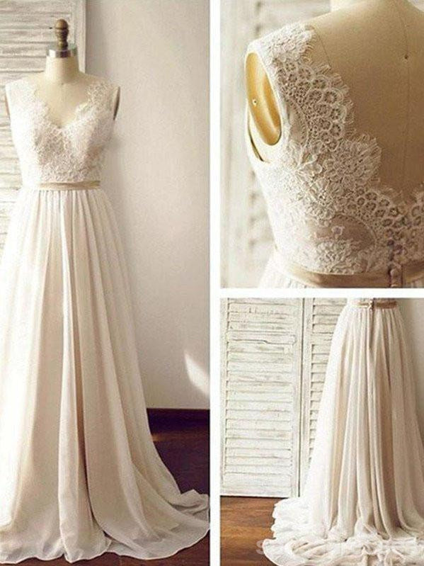 Lace Backless Beach Wedding Dresses, Chiffon Long Custom Wedding Gowns, 17097