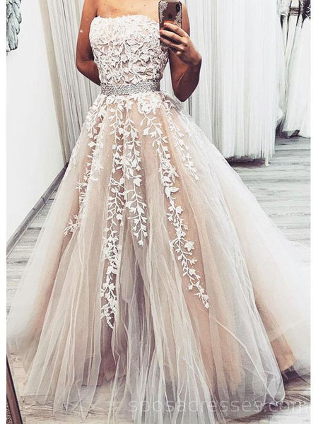 Strapless Grey Champagne Cheap Long Evening Prom Dresses, Evening Party Prom Dresses, 18633