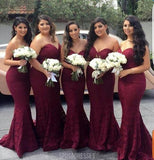 Sexy Mermaid Sweet Heart Dark Red Lace Cheap Long Wedding Party Bridesmaid Dresses, BD100