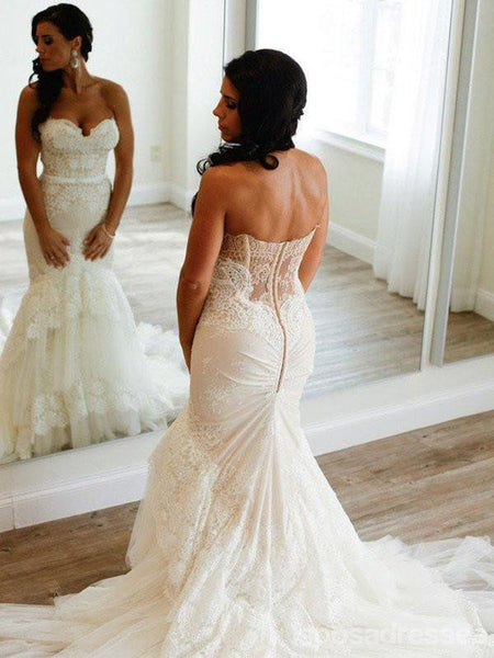 Strapless Mermaid Lace Wedding Dresses,  Sexy Long Custom Wedding Gowns, 17103