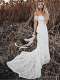 Off Shoulder Vintage Lace Mermaid Cheap Robes de mariée, Shore Sleeves Robes de mariée, WD432