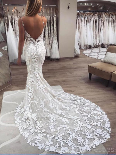 See Through Spaghetti Straps Lace Mermaid Cheap Wedding Dresses Online, Cheap Lace Bridal Dresses, WD470