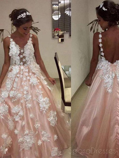 Sexy Backless Lace Applique Peach Long Evening Prom Dresses, Cheap Sweet 16 Dresses, 18422