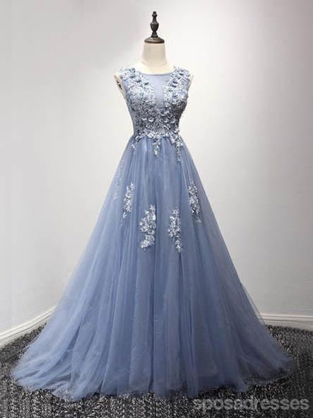 Corset Back Dusty Blue Lace Evening Prom Dresses, Popular Lace Party Prom Dresses, Custom Long Prom Dresses, Cheap Formal Prom Dresses, 17189