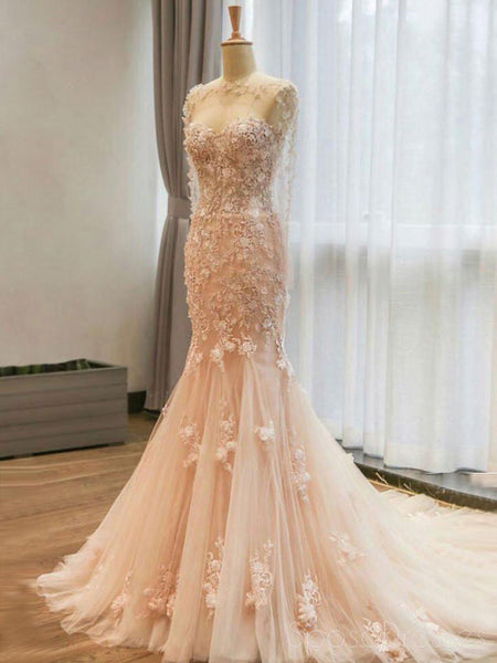 Long Sleeve Blush Pink Mermaid Lace Long Evening Prom Dresses, Popular Cheap Long 2018 Party Prom Dresses, 17309