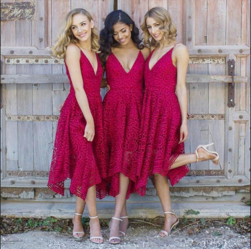 Red V Neck Affordable Short Lace Bridesmaid Dresses Online, WG213