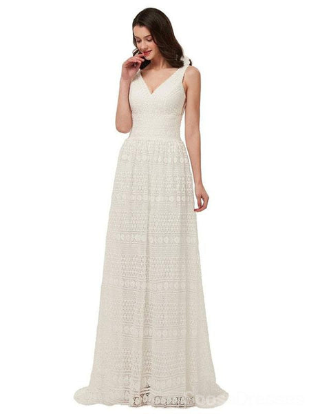 V Neck Lace Cheap Boho Wedding Dresses, Cheap Wedding Gown, WD708