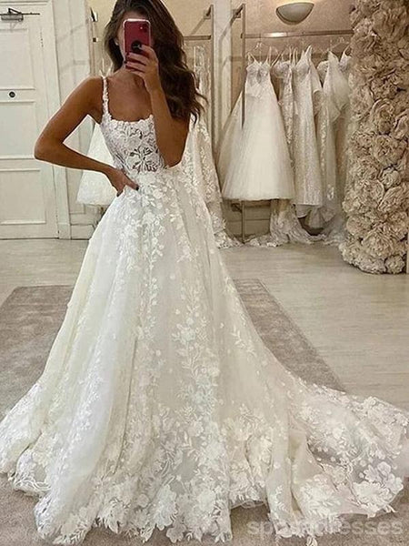 Lace Straps A-line Cheap Lace Wedding Dresses Online, Cheap Bridal Dresses, WD624