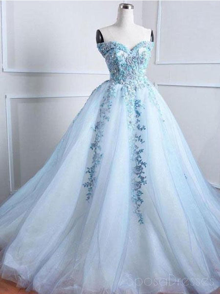 d297bc92accda Sweetheart Pale Blue Lace Beaded Cheap Long Evening Prom Dresses, Cheap  Sweet 16 Dresses,
